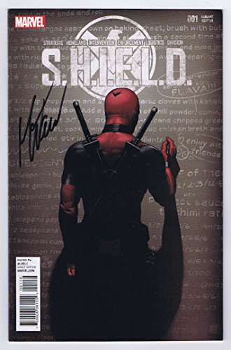 Autographed Print (Shield #1 Deadpool Variant Cover Signed w/COA Mark Waid VF/NM 1st Print 2015 Marvel Comics)