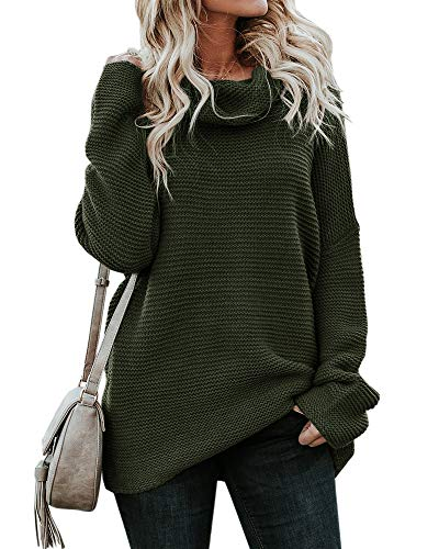 - CNJFJ Womens Cowl Neck Chunky Sweater Winter Loose Fit Knitted Jumpers Solid Pullover Cardigan Sweaters Green