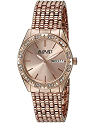 August Steiner Womens AS8177RG Rose Gold Crystal Accented Quartz Watch with Rose Gold Dial and Rose Gold Bracelet