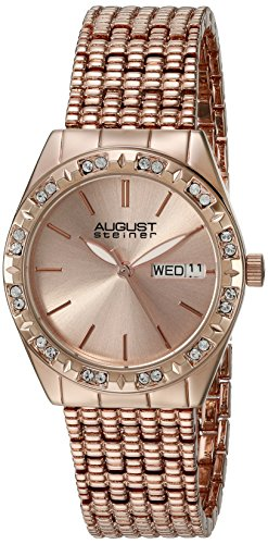 August Steiner Women's AS8177RG Rose Gold Crystal Accented Quartz Watch with Rose Gold Dial and Rose Gold Bracelet