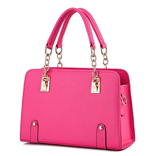 Desklets Womens PU Leather Fashionable Tote Bags Top Handle Handbag(RoseRed) ()