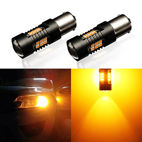 BA15S LED Signal Bulb, Extremly Bright Amber P21W 1156 BA15S R5W 1156A 1157 PY21W BAY15D P21/5W Auto Lamp for Replacement of Signal, Turn, Reverse, Brake, Parking, Tail, DRL and Fog Lights and More