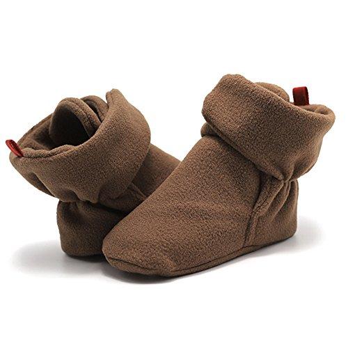 Meijunter Baby Schuhe Junge Mädchen Kleinkind Anti-Rutsch Hohe Stiefel Erstes Gehen Schuh 0-24 Monate 12 Farbe Braun