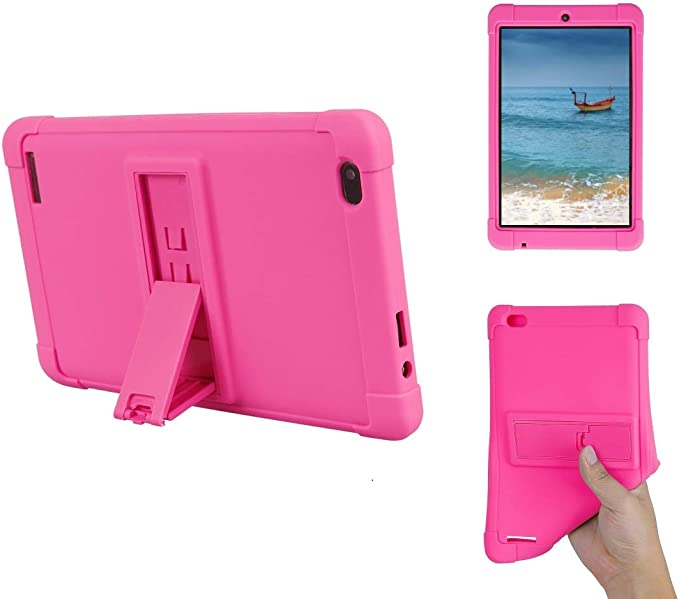 Amazon Com Dragon Touch M7 7 Inch Tablet Case Kickstand Case For Kids Shockproof Silicone Case Cover Pc Tablet Bracket Stand Case For Dragon Touch M7 7 Inch Tablet Rose Red