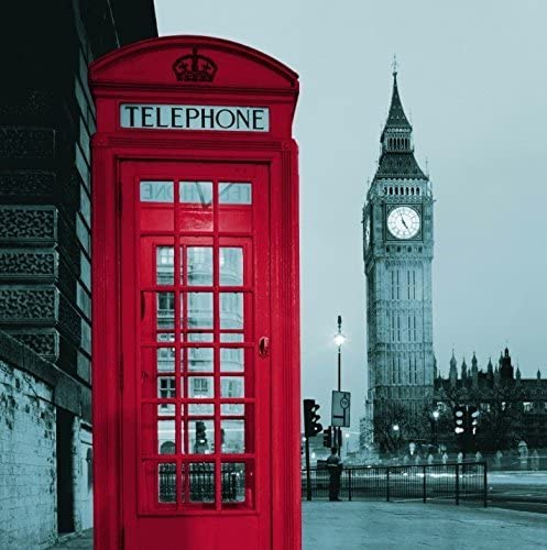 London Printed 100/% Cotton Fabric. White With Red Telephone Boxes British