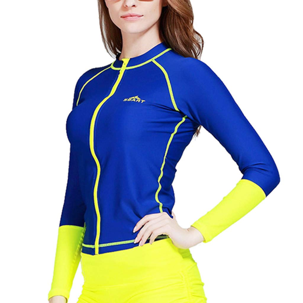 Allywit Surfing Suit Women Shorty Sleeve One Piece Swimwear Sun Protection Wetsuit Diving, Snorkeling, Surfing, Blue
