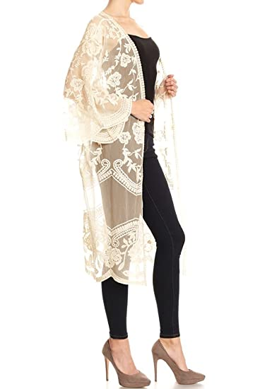 25ca2aaa8de48 Anna-Kaci Womens Long Embroidered Lace Kimono Cardigan with Half Sleeves,  Beige, Onesize at Amazon Women's Clothing store: