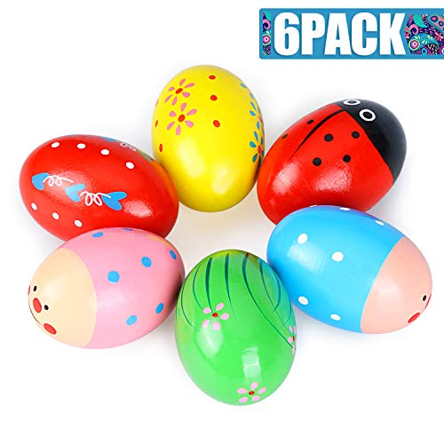 6 Pack Musical Egg Wooden Percussion Maracas Egg Shakers Assorted Colors Easter