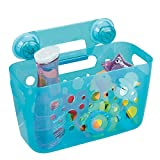mDesign Kids/Baby Bathroom Shower Suction Caddy Basket for Bath Toys, Shampoo, Conditioner, Soap - Aqua Transparent