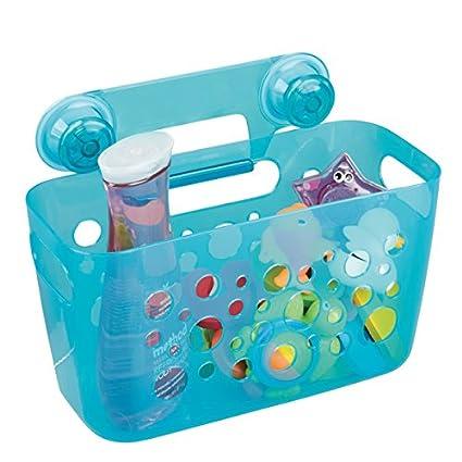 mDesign Kids/Baby Bathroom Shower Suction Caddy Basket for Bath Toys, Shampoo, Conditioner, Soap - Aqua Transparent