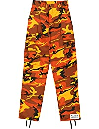 Orange Camo Cargo BDU Pants Hunters Camouflage Tactical Military Fatigues with Army Universe Pin