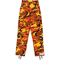 Orange Camo Cargo BDU Pants Hunters Camouflage Tactical Military Fatigues  with Army Universe Pin 461ed9c6329