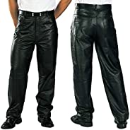 Xelement Mens Classic Loose Fit Leather Pants - 32