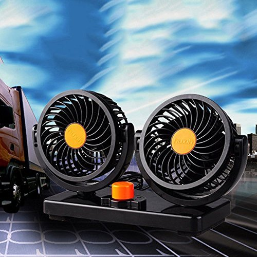 JOJOO 24V Dual Swivel Head Car Auto Cooling Air Fan Rotatable Powerful 2 Speed Auto Quiet Ventilation with Kids Safe Design for Vehicles SUV HM001C