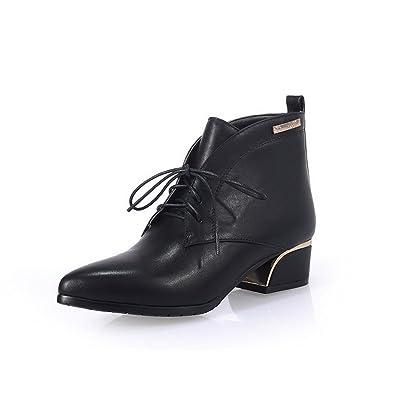 AgooLar Damen Niedriger Absatz Rein Spitz Zehe Blend-Materialien Schnüren Stiefel, Weiß, 36