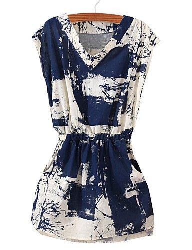 PU&PU Robe Aux femmes Ample Vintage / Simple,Imprimé Col en V Au dessus du genou Coton / Acrylique / Polyester , one-size