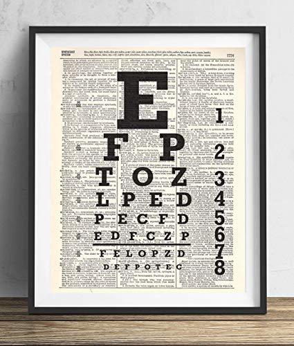 Eye Chart Upcycled Dictionary Art Print 8x10