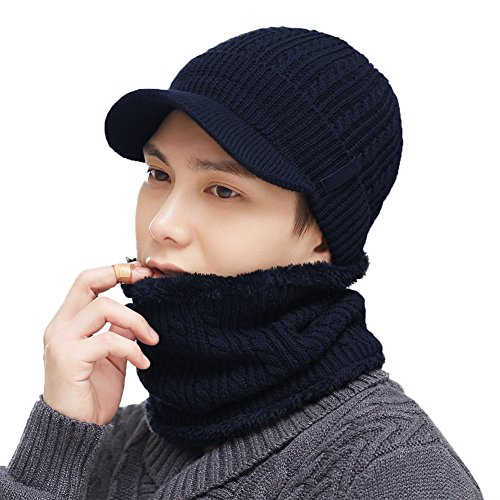 2 Piece Wool Knit Hat & Scarf Sets Visor Beanie Fleece Lined Cold Weather Winter Hat Jeep Cap w/Neck Warmer Navy
