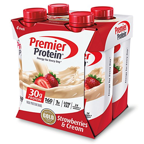 (Premier Protein 30g Protein Shakes, Strawberries & Cream 11 Fluid Ounces (Pack of 4))