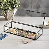 Vintage Style Black Metal & Clear Glass Mirrored Shadow Box Jewelry Display Case w/ Hinged Top Lid