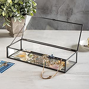 Vintage Style Black Metal & Clear Glass Mirrored Shadow Box Jewelry Display Case w/Hinged Top Lid