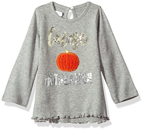 Mud Pie Baby Girls' Toddler Halloween Long Sleeve Tunic, Gray Pumpkin, MED/ 2T-3T ()