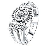 Sterling Manufacturers. Anillo de plata para hombre .925 con 34 piedras redondas, cuadradas y de circonita cúbica (CZ) bañadas en platino. Por