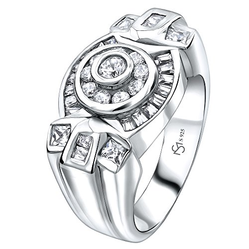 Sterling Manufacturers Men's Sterling Silver .925 Ring Featuring 34 Round, Square, and Baguette Cubic Zirconia (CZ) Stones, Platinum Plated ()