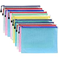 Pack of 10 Mesh Document Bag A3 Size Durable Plastic Zipper File Wallet Rope Hook Design for Paperwork Documents (A3…