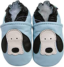 Carozoo baby boy shoes soft sole leather infant toddler kids slippers Dog Long Ear Light Blue 5-6y
