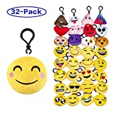 "Olicity Emoji Keychain, Emoji Party Favors Mini and Cute Plush Pillows, Emoji Party Supplies Kids Gifts for Christmas, Birthday, Classroom Rewards, 2"", Pack of 32"