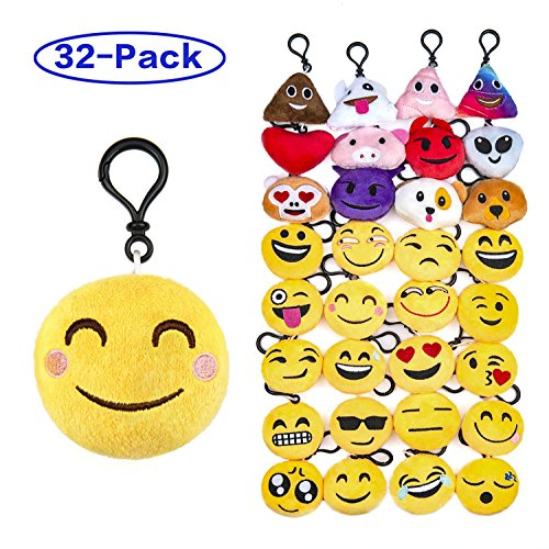"Olicity Emoji Keychain, Emoji Party Favors Mini and Cute Plush Pillows, Emoji Party Supplies for Kids Christmas, Birthday, Classroom Rewards, 2"" , Pack of 32"