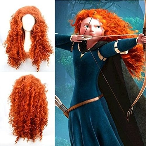 Curly Brave-merida Costume Wig