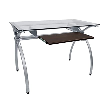 amazon com contempo clear glass top computer desk with pull out