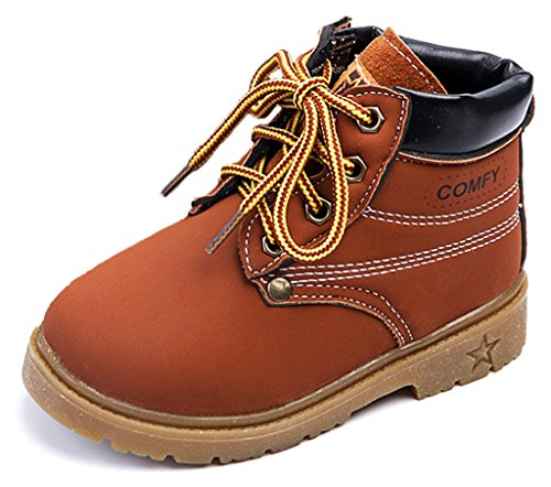 IOO Kids Classic Easy On Waterproof Winter Snow Work Boots for Girls and Boys Little Kid Brown 29 (Cheap Cowgirl Boots Under 20)