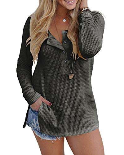 ALALEI Womens Long Sleeve Henley Blouse Fall Button Down Pullover Knit Loose Leisure Stylish Sexy Knit Sweaters Tops (X-Large, Dark gray-94)