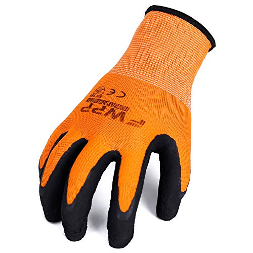 FWPP GL008005L12 Nylon Latex Foam Coated Work Gloves Construction Gloves Pack of 12 Pairs  Large Fluorescence Orange