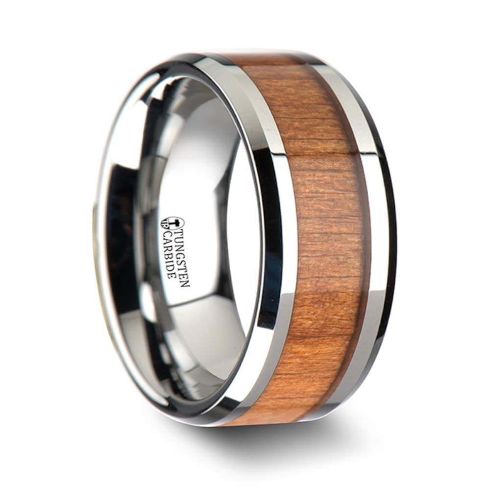 Thorsten Rings BRUNSWICK Tungsten Carbide Wedding Ring with Black Cherry Wood Inlay and Polished Beveled Edges Comfort Fit Lightweight Durable Wooden Wedding Band - 6mm