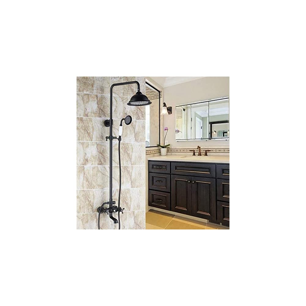 JinYuZe Classic Exposed Shower System Rainfall Shower Head with Ceramic Handheld, Antique Black Shower Kit with Tub…