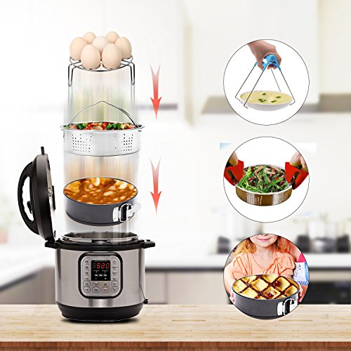 Instant Pot Accessories Set with Steamer Basket, Egg Steamer Rack, Non-stick Springform Pan, Steaming Stand, 1 Pair Silicone Cooking Pot Mitts 5 Piece by JOYORUN (Image #5)