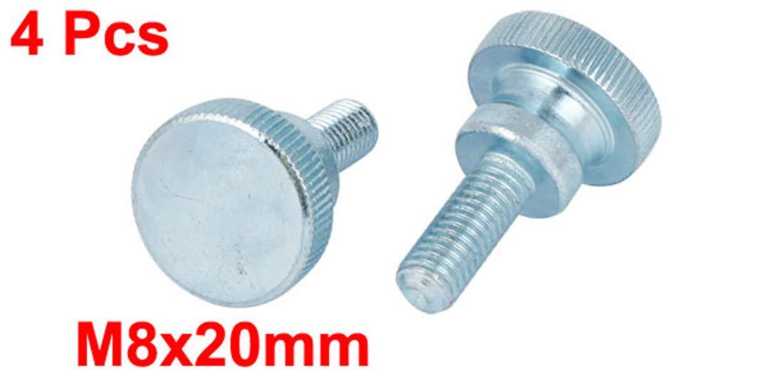M8x20mm Carbon Steel Step Hand Screw Flat Knurled Head Thumb Screws Bolts 4Pcs