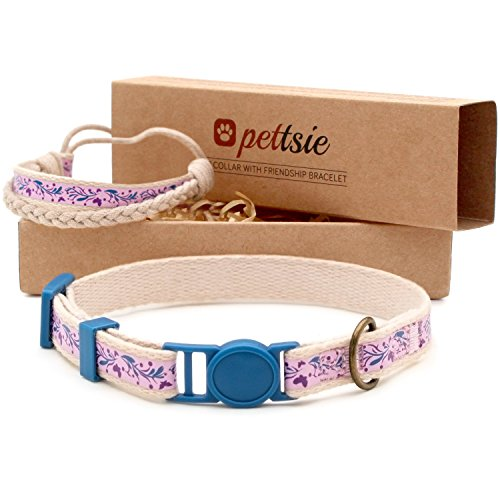 Pettsie Cat Collar Breakaway Safety and Friendship Bracelet for You, Durable 100% Cotton for Extra Safety, D-Ring for Accessories, Comfortable and Soft Cotton, Easy Adjustable 7.5-11.5 Inch (Purple) ()