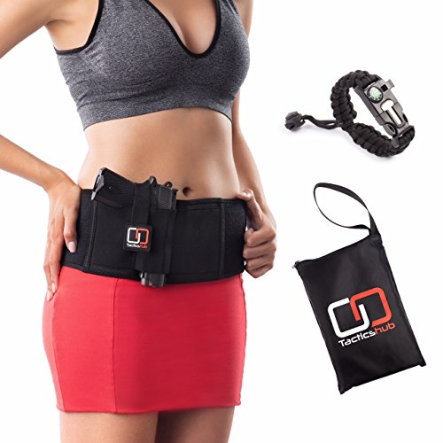 Tacticshub Belly Band Holster for Concealed Carry  Gun Holster for Women and Men that fits Glock, Smith Wesson, Ruger, and More - Waistband Holster for Pistols and Revolvers + Carry Bag