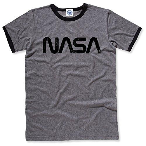 Hank Player U.S.A. NASA Retro Worm Logo Men's Ringer T-Shirt (L, Heather Grey/Black)