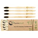 Panda Stuff Organic Bamboo Toothbrush Eco-Friendly Brush - Soft Bristles – For Healthy And White Teeth - Pack Of 4 – Natural And Biodegradable – BPA Free