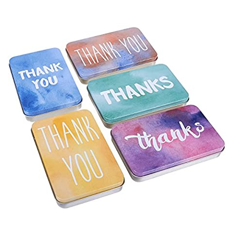 Set of 5 Small Tin Boxes - Small Tin Containers, Thank You Tin Storage Containers for Gift Cards, Gift Giving, Keepsake Tin Box, Assorted Colors - 5 x 0.7 x 3.2 - Mini Tin Case