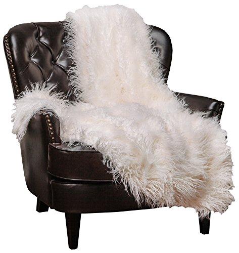 Chanasya Soft Shaggy Fuzzy Fur Long Mangolian Faux Fur Cozy Elegant Chic Decorative Off White Microfiber Throw Blanket (50 x 65)- Ivory Off White Long Mangolian Fur