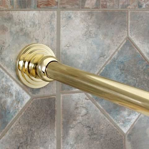 60-Inch Polished Brass Straight Shower Rod with Flanges