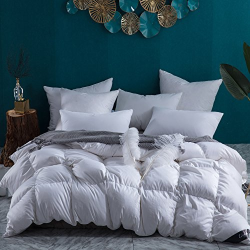 Globon Lavender Scented White Down Comforter King Size (106-Inch-by-90-Inch) 60oz, 300 Thread Count, 600 Fill Power, White, Clearance Sale