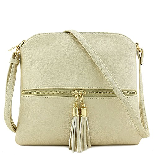 Americana Color Block Cross Body Bag with Tassel - Gold Colour Block